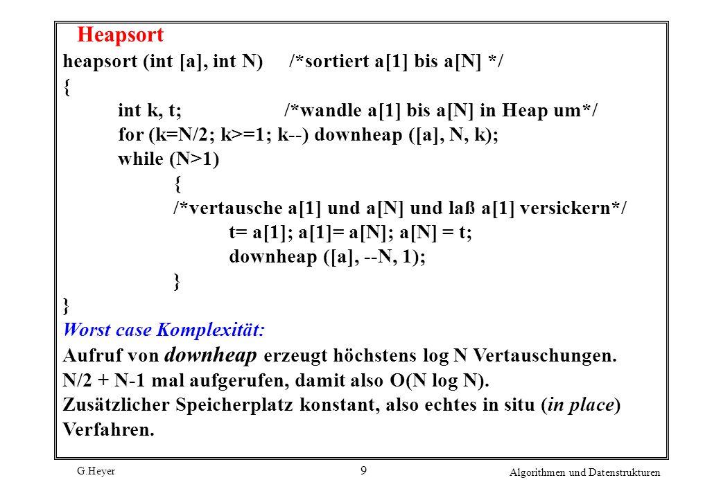Heapsort heapsort (int [a], int N) /*sortiert a[1] bis a[N] */ {